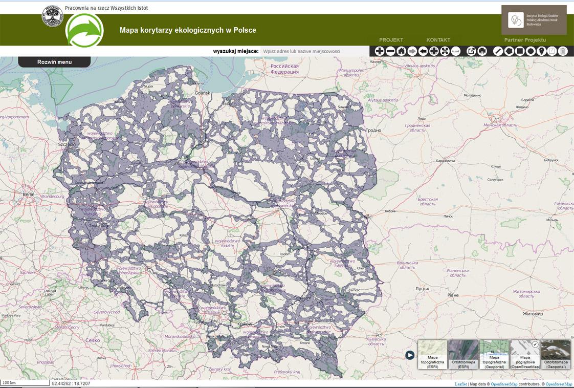 Mapa Korytarzy Ekologicznych W Polsce